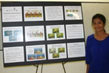 Sree Ramya S.P. Malladi with her prize-winning poster