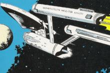 A comic book image of the Starship Enterprise from the original Star Trek series.