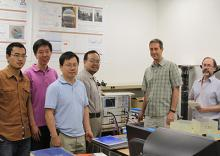 A UA research team made up of (from left to right) Tao Qin; Xiong Wang; Yexian Qin; Hao Xin, principal investigator; Russell Witte, co-principal investigator; and Pier Ingram will apply their new breast cancer imaging technology to bomb detection.