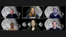 Screenshot of students on an online video call, each with the asteroid Bennu set as their background.