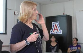 ECE professor Linda Powers spoke to dozens of Engineering 102 freshmen and high school students during an October presentation about the vital role engineers play in cases of epidemic or pandemic outbreak.
