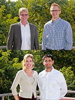 Top: nominator Hal Tharp with outstanding senior Matthew Watson. Bottom: nominator Kathleen Melde with outstanding graduate student Arghya Sain.