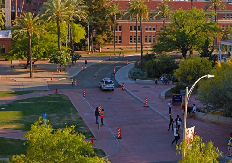 The driving course outside of Old Main used for the self-driving cars designed during the CAT Vehicle Competition on April 23.