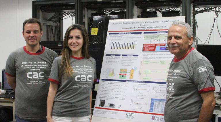 ECE graduate student Farah Fargo (center) received the Best Research Poster award at the 2014 IEEE International Cloud and Autonomic Computing Conference in London for her research in cloud computing and load-balancing systems.