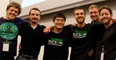 Xiao Qin (third from left) and his Cheap Avocados teammates celebrate their Startup Weekend Tucson 2012 win. The team took top honors for their grocery mobile app equivalent of the cheap gas finder. Photo courtesy of Associated Blogs.