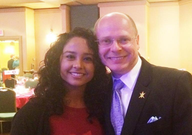 BASIS High School student Helena Hurbon (left) joins her Senior Research Project mentor, ECE associate professor Wolfgang Fink, at the 2015 da Vinci Circle Annual Dinner.
