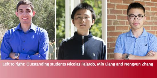 Outstanding students Nicolas Fajardo, Min Liang and Nengyun Zhang