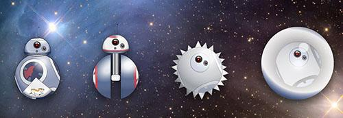 "Different design elements in the dynamic ""Star Wars"" droid BB-8. Illustration by Gianna Biocca/Office for Research and Discovery."