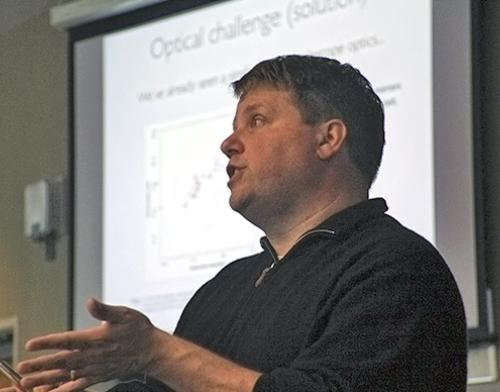 Multiple users will need to zoom in on pieces of a single gigapixel image for technology to economically handle the size of the files, Michael Gehm explains to Engineering alumni during a special Homecoming lecture recently.