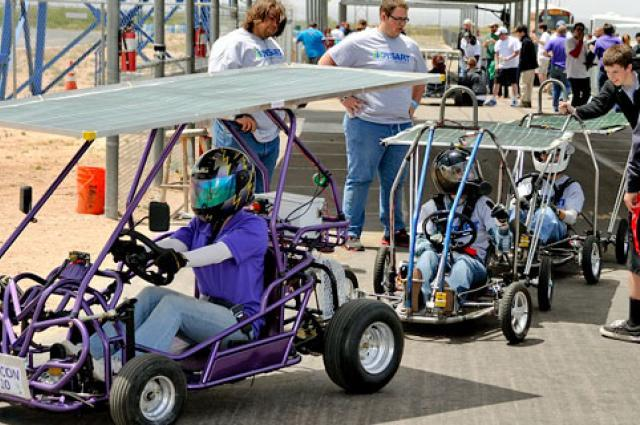 Solar go-karts head for the track at the 2015 race day held April 25 at Musselman Honda Circuit in Tucson, Arizona.