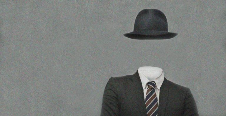 Illustration indicating an invisible man, with a suit and tie and black hat floating against a gray background