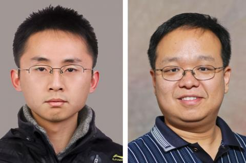 Electrical and computer engineering doctoral student Min Liang, left, and his PhD supervisor, ECE associate professor Hao Xin, who is director of the UA Millimeter Wave Circuits and Antennas Laboratory.