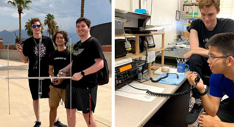 Three students with antenna; two students with ham radio
