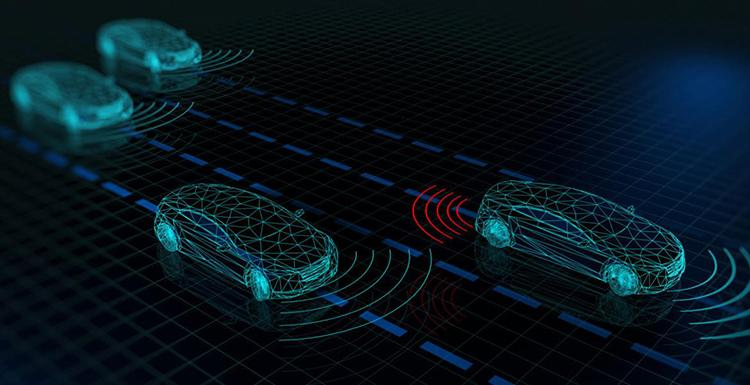 A computer-generated wire drawing depicts four cars communicating with each other through signal waves.